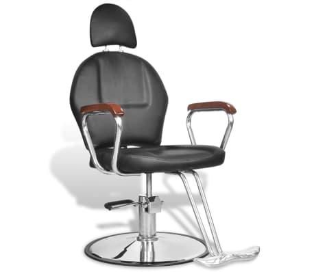 Професионален фризьорски стол с облегалка от изкуствена кожа, черен[1/8]