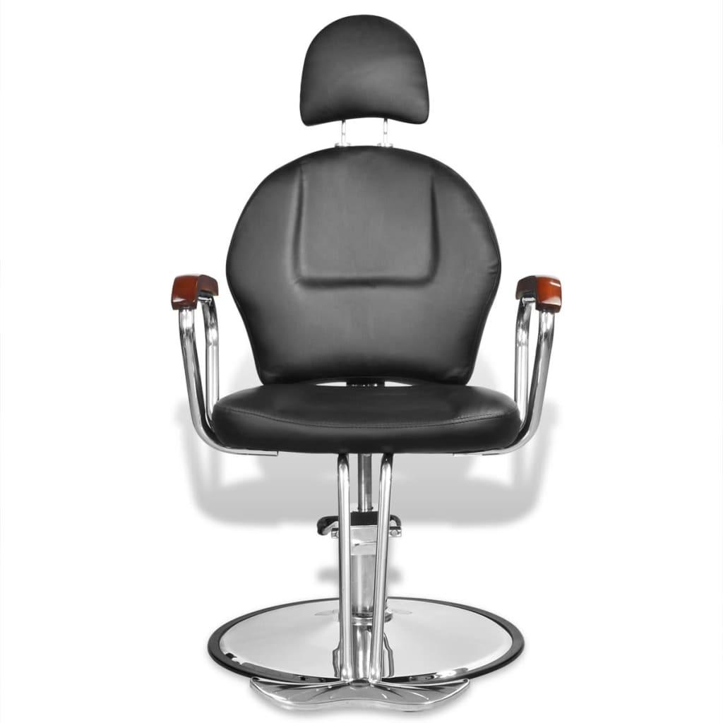 Profesionální holičská židle s opěrkou hlavy umělá kůže černá