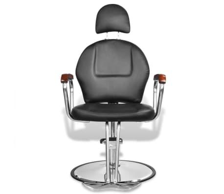 Професионален фризьорски стол с облегалка от изкуствена кожа, черен[2/8]