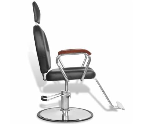 Професионален фризьорски стол с облегалка от изкуствена кожа, черен[5/8]