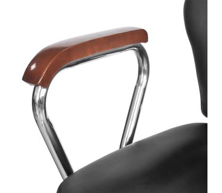 Професионален фризьорски стол с облегалка от изкуствена кожа, черен[6/8]
