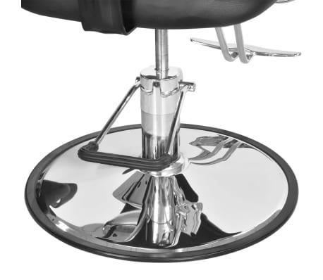 Професионален фризьорски стол с облегалка от изкуствена кожа, черен[7/8]