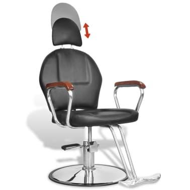 Професионален фризьорски стол с облегалка от изкуствена кожа, черен[4/8]