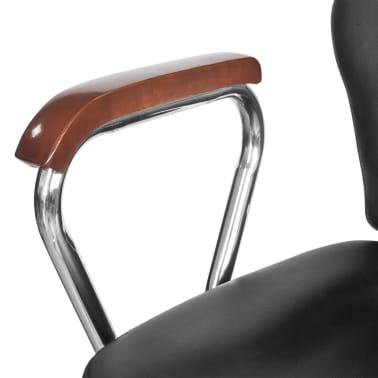 Scaun profesional de frizer, cu tetieră și piele artificială, negru[6/8]