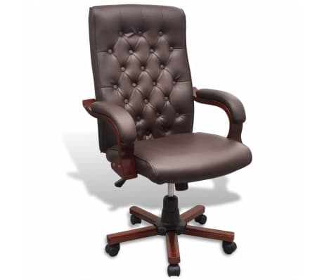 vidaXL Chaise de bureau Chesterfield Similicuir Marron[1/7]