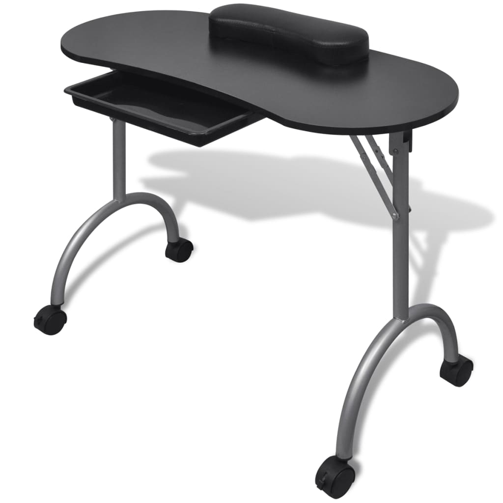 vidaXL Folding Manicure Nail Table with Castors Black