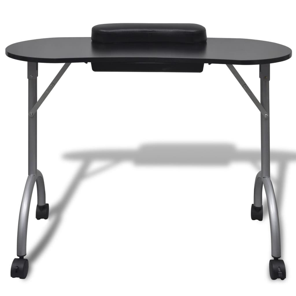 99110123 Klappbarer Maniküre-Tisch mit Rollen Schwarz