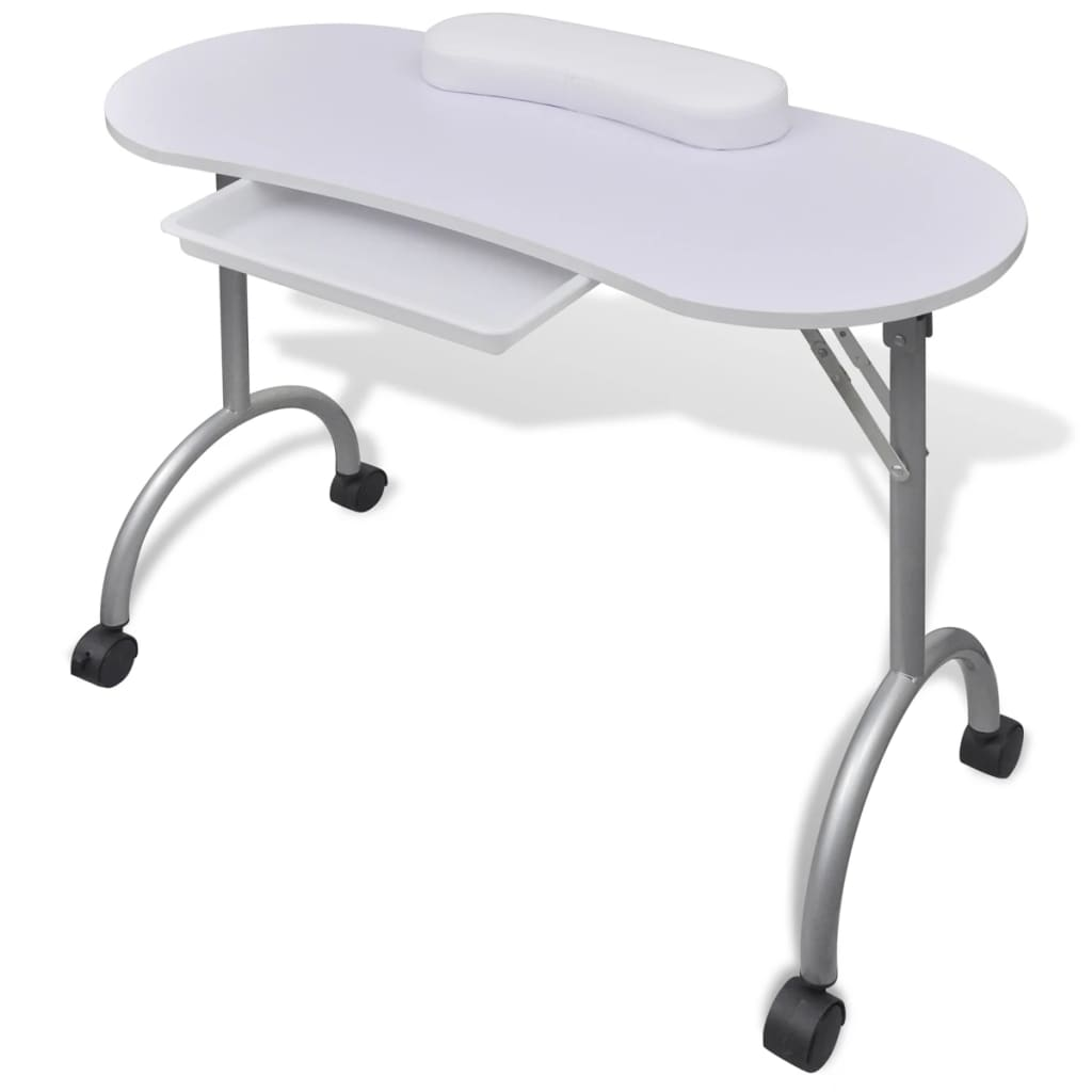 vidaXL Folding Manicure Nail Table with Castors White