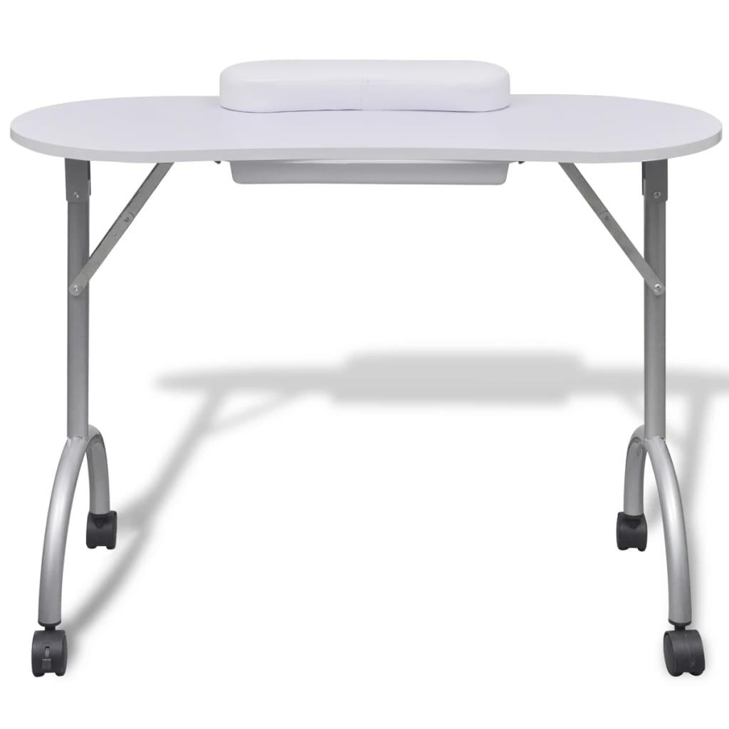 99110124 Klappbarer Maniküre-Tisch mit Rollen Weiß