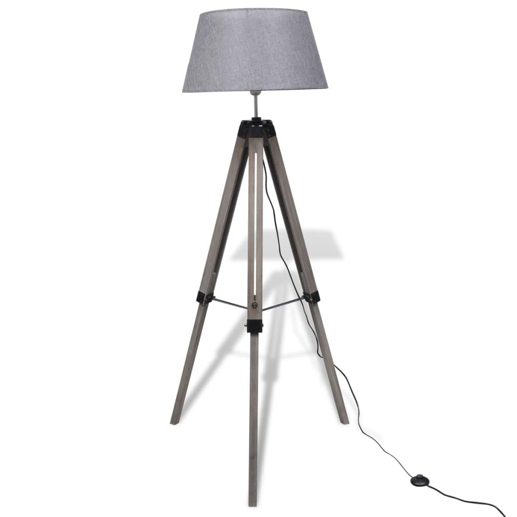 Dřevěná stojací lampa Nastavitelná trojnožka Látkové stínítko Šedá