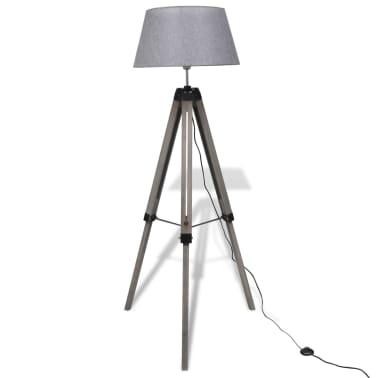 Lámpara de pie ajustable de madera tipo trípode con pantalla gris[1/9]