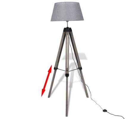 Lámpara de pie ajustable de madera tipo trípode con pantalla gris[2/9]
