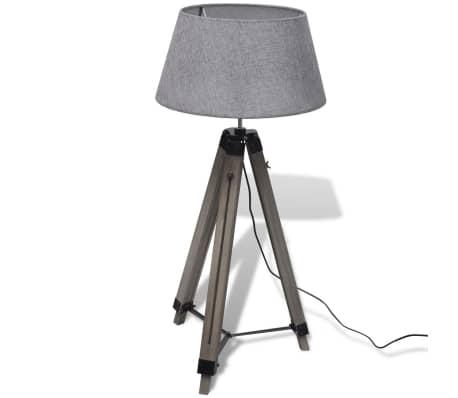 Lámpara de pie ajustable de madera tipo trípode con pantalla gris[3/9]