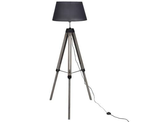 Lámpara de pie ajustable de madera tipo trípode con pantalla negra[1/9]