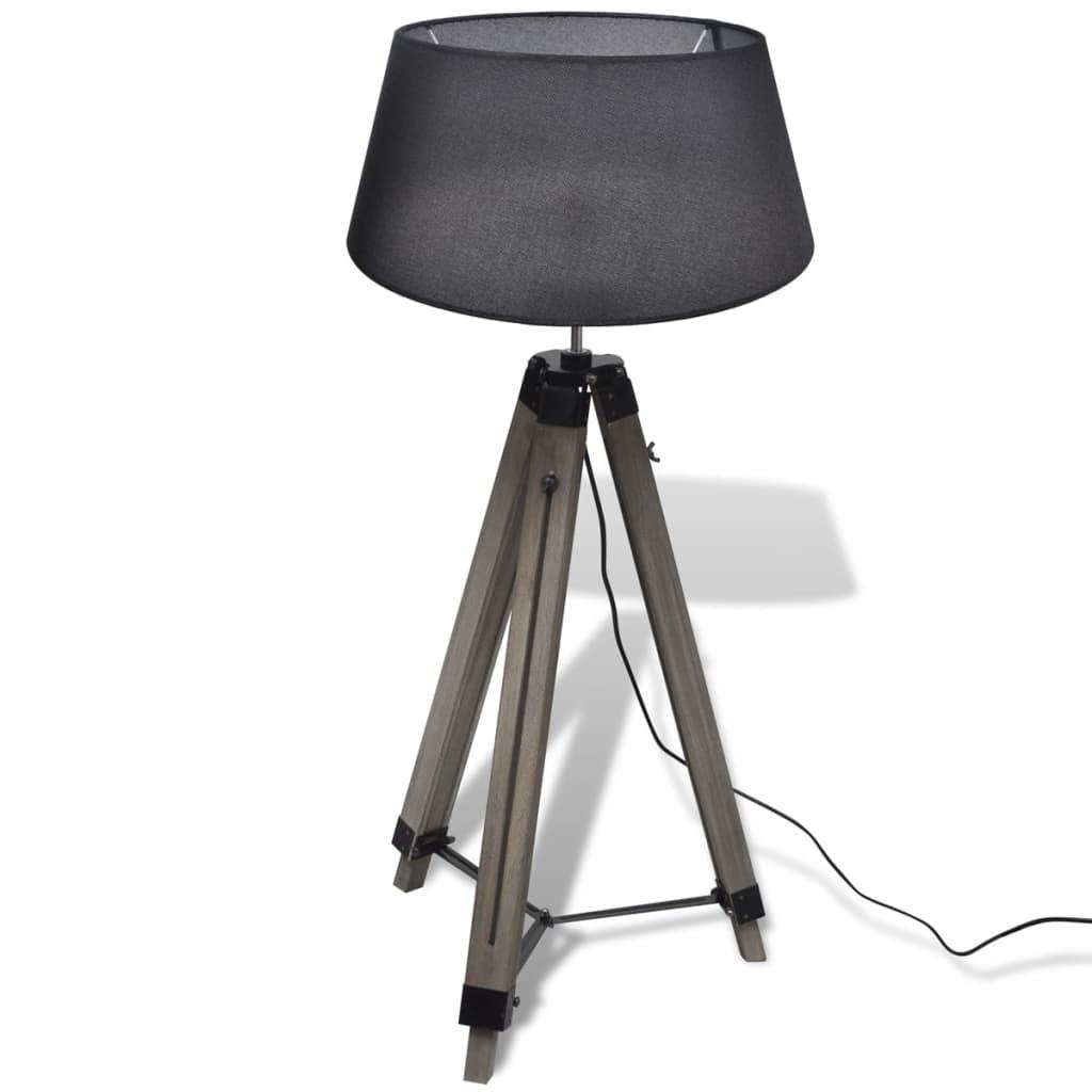 Comwinkel Staande lamp met verstelbaar statief en stoffen kap hout zwart