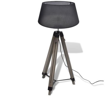 Lámpara de pie ajustable de madera tipo trípode con pantalla negra[3/9]