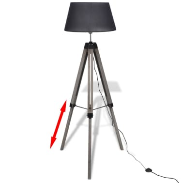 Lámpara de pie ajustable de madera tipo trípode con pantalla negra[2/9]