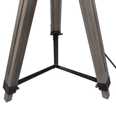 Lámpara de pie ajustable de madera tipo trípode con pantalla negra[4/9]