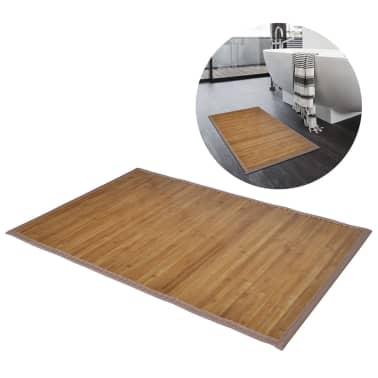 Alfombrilla de baño de bambú 60 x 90 cm marrón[1/5]