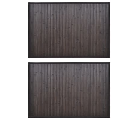 2 Bamboo Bath Mats 40 x 50 cm Dark Brown