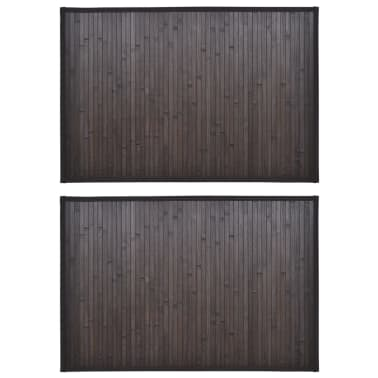 2 Badmatjes bamboe 40 x 50 cm donkerbruin[2/5]