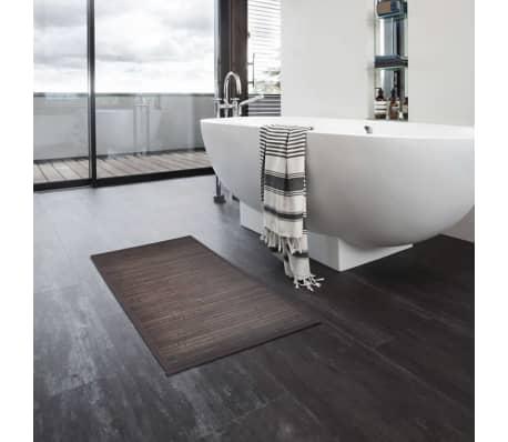 2 Badmatjes bamboe 40 x 50 cm donkerbruin[5/5]