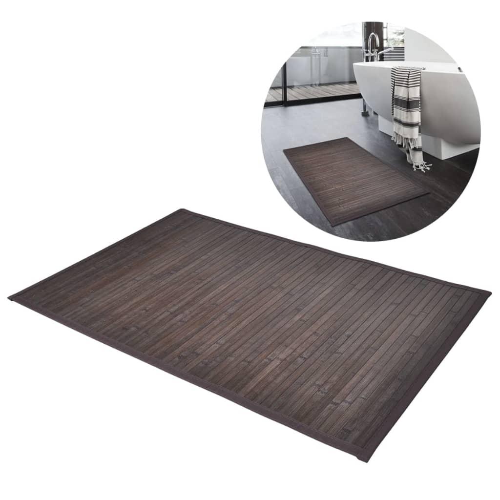 Bambusová koupelnová předložka 2 ks 40x50 cm, tmavě hnědá