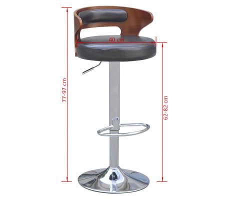 vidaXL Tabouret de bar 2 pcs avec cadre en bois Cuir synthétique Noir 5  ce8dcb2b2748