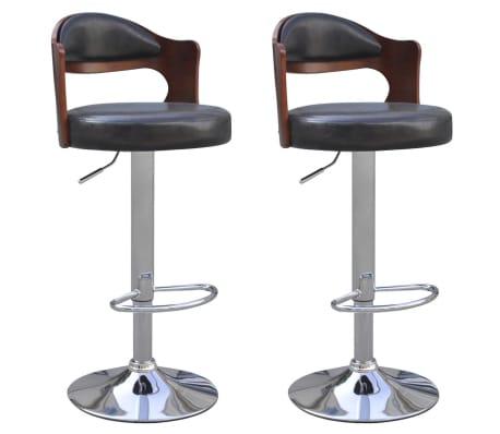 vidaXL Bar Stools 2 pcs with Bentwood Frame Artificial Leather