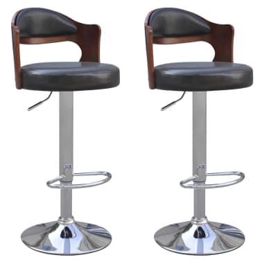 f4f17a894ae60 vidaXL Barové stoličky z ohýbaného dreva, poťah z umelej kože, 2 ks ...