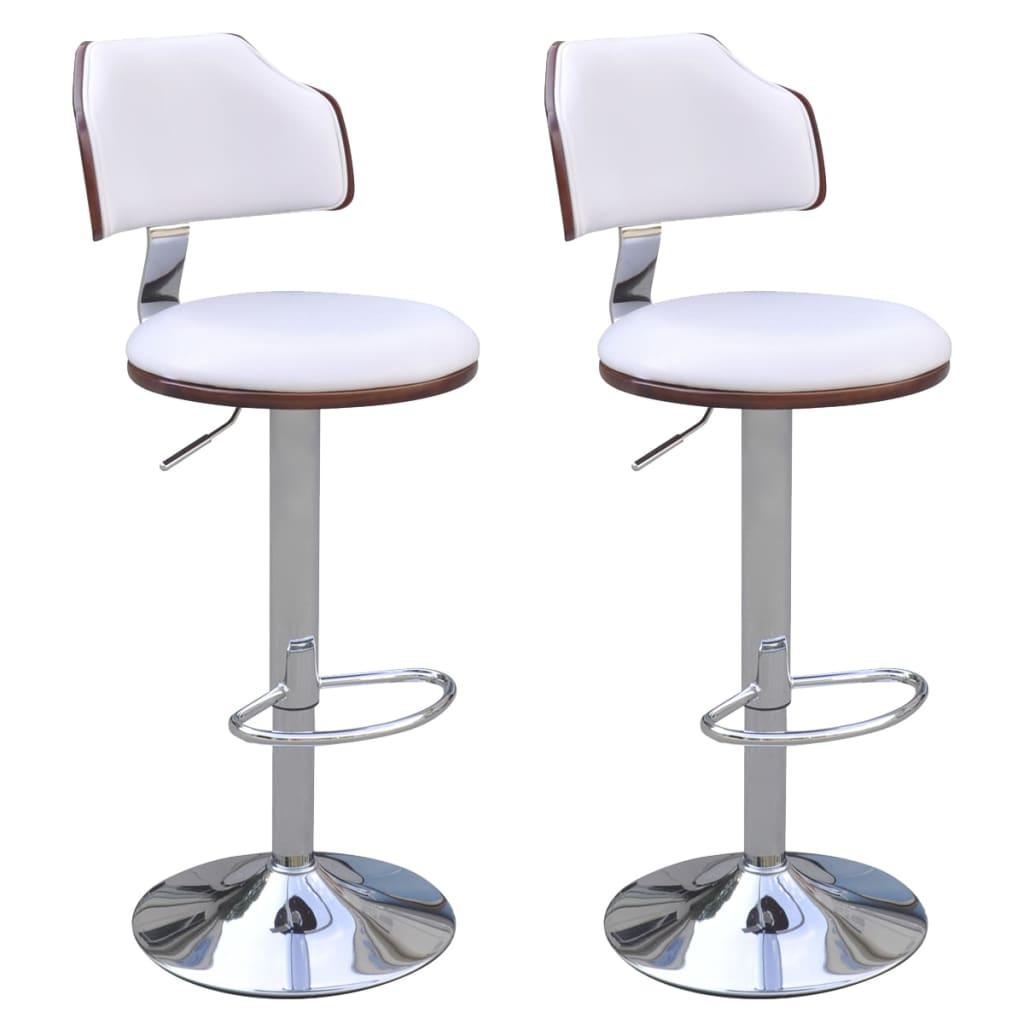 2 barové židle bez područek, koženka, polstrování, ohýbané dřevo bílé