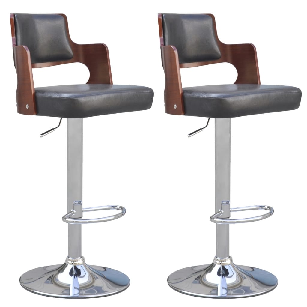 vidaXL 2 Artificial Leather Bar Stools with Padded Square Seat Black