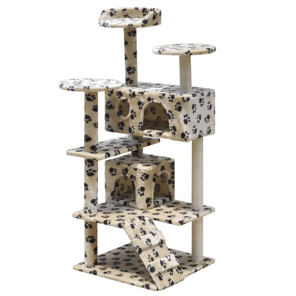 vidaXL Škrabadlo pro kočky 126 cm se 2 domečky béžové s potiskem tlapek