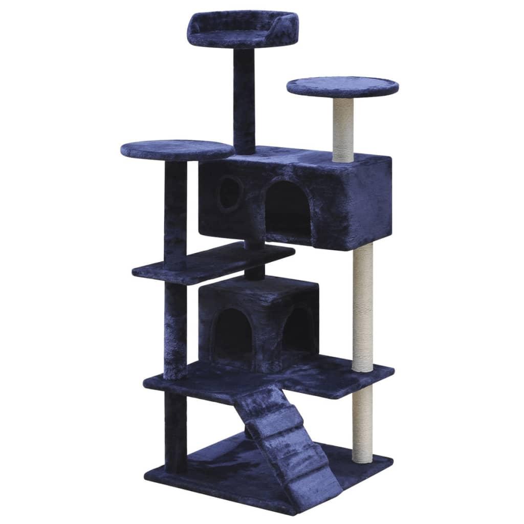 vidaXL Ansamblu pentru pisici, 126 cm, 2 căsuțe, albastru închis poza 2021 vidaXL