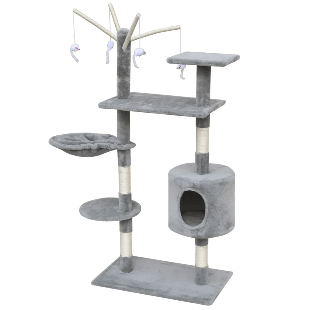 vidaXL Škrabadlo pro kočky 120 cm s 1 domečkem šedé