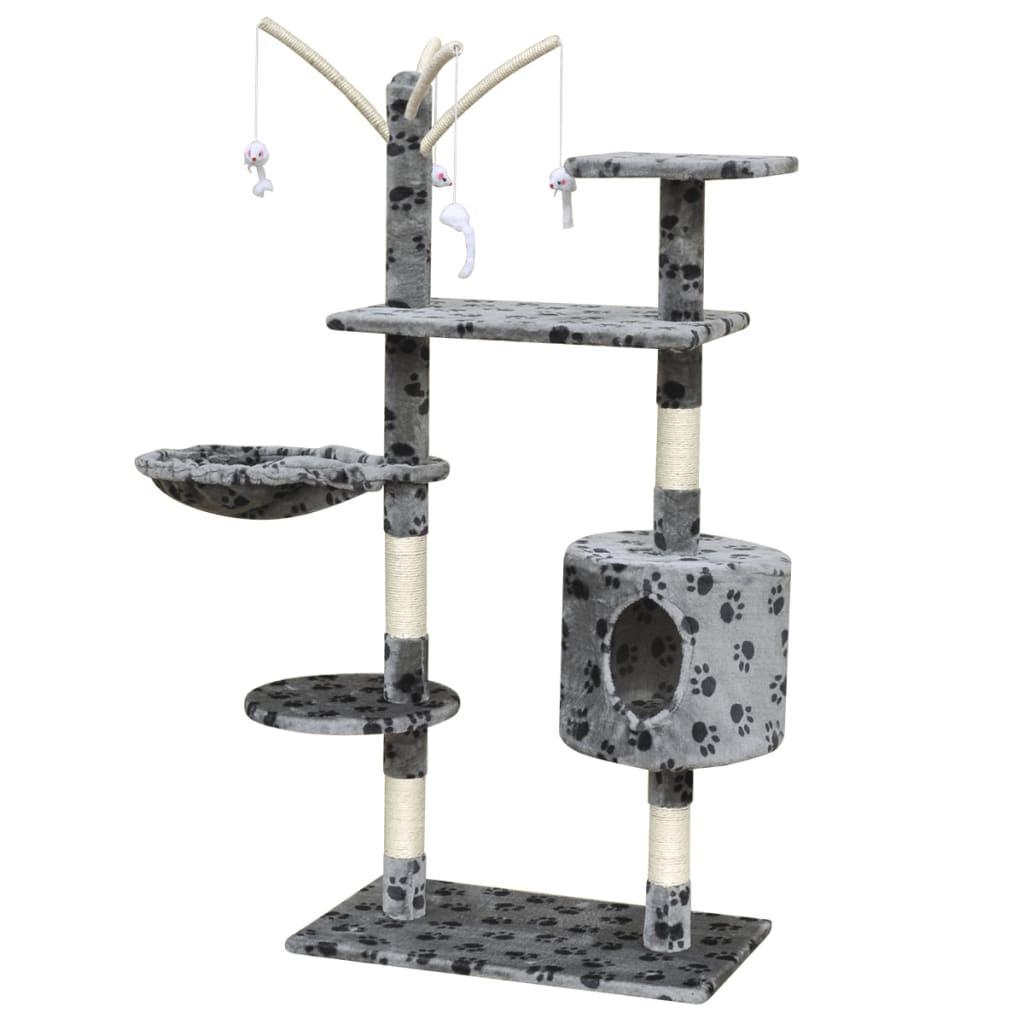 vidaXL Ansamblu pentru pisici 120 cm căsuță gri cu imprimeu cu lăbuțe poza vidaxl.ro