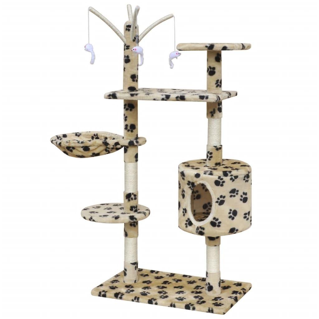 vidaXL Škrabadlo pro kočky 120 cm s 1 domečkem béžové s potiskem tlapek