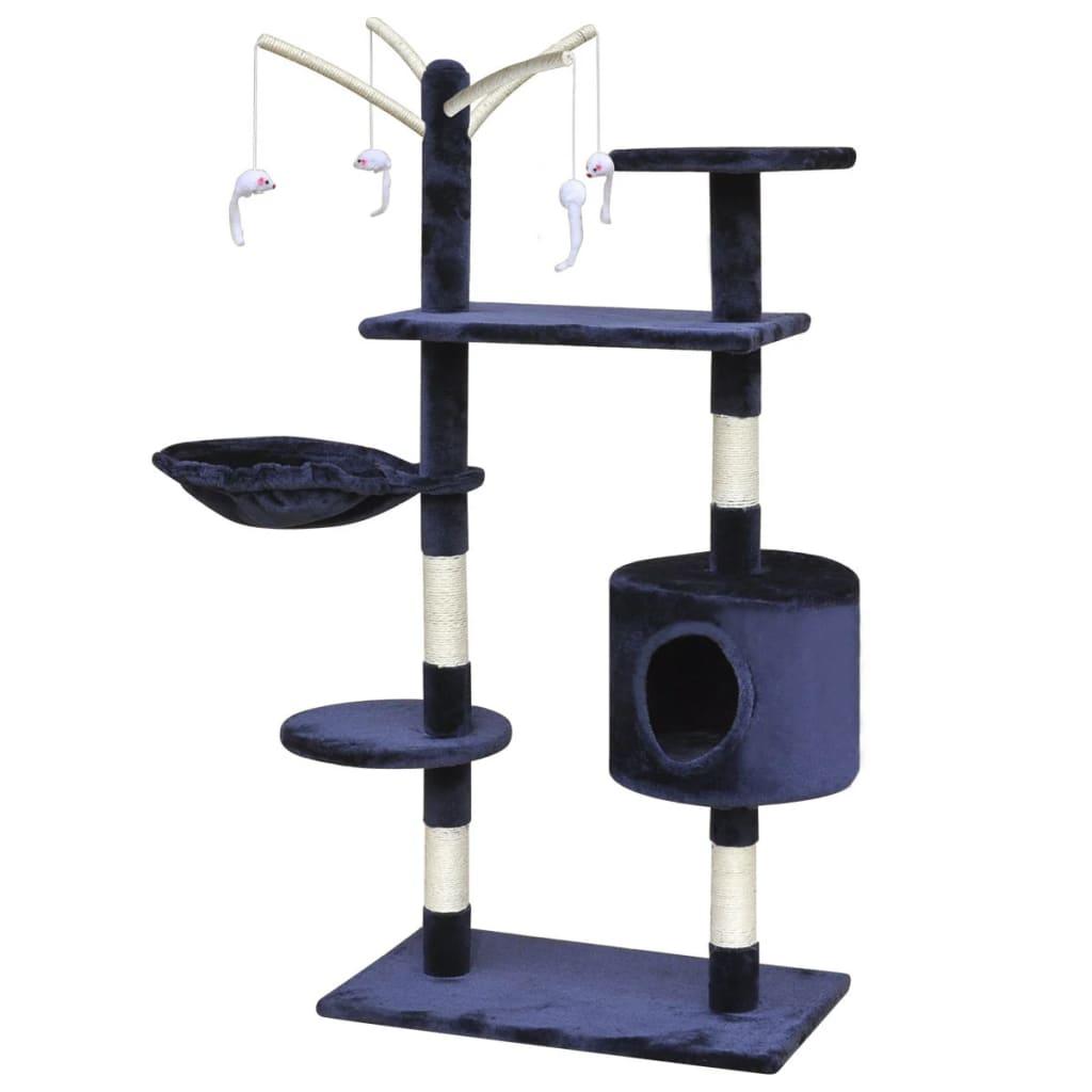 vidaXL Škrabadlo pro kočky 120 cm s 1 domečkem tmavě modré