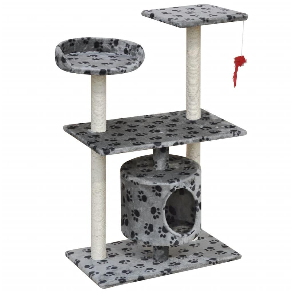 vidaXL Škrabadlo pro kočky 94,5 cm s 1 domečkem šedé s potiskem tlapek