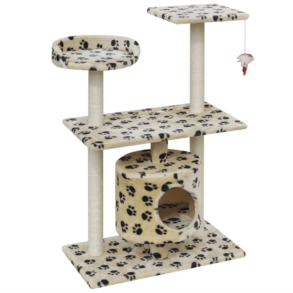 vidaXL Škrabadlo pro kočky 94,5 cm s 1 domečkem béžové s potiskem tlapek