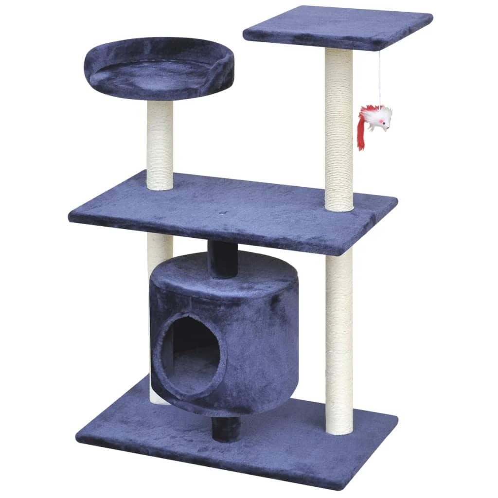 vidaXL Škrabadlo pro kočky 94,5 cm s 1 domečkem tmavě modré
