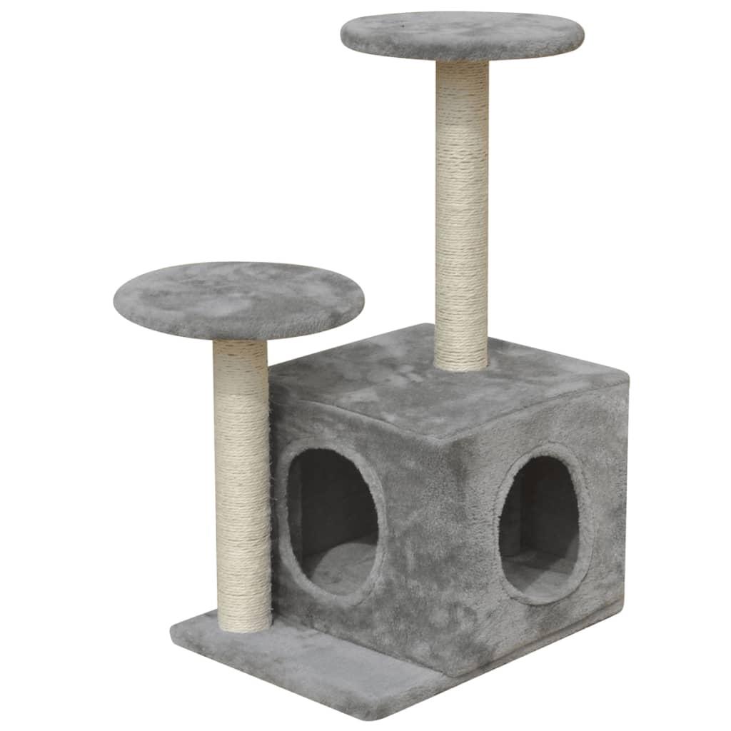 vidaXL Škrabadlo pro kočky 64 cm s 1 domečkem šedé
