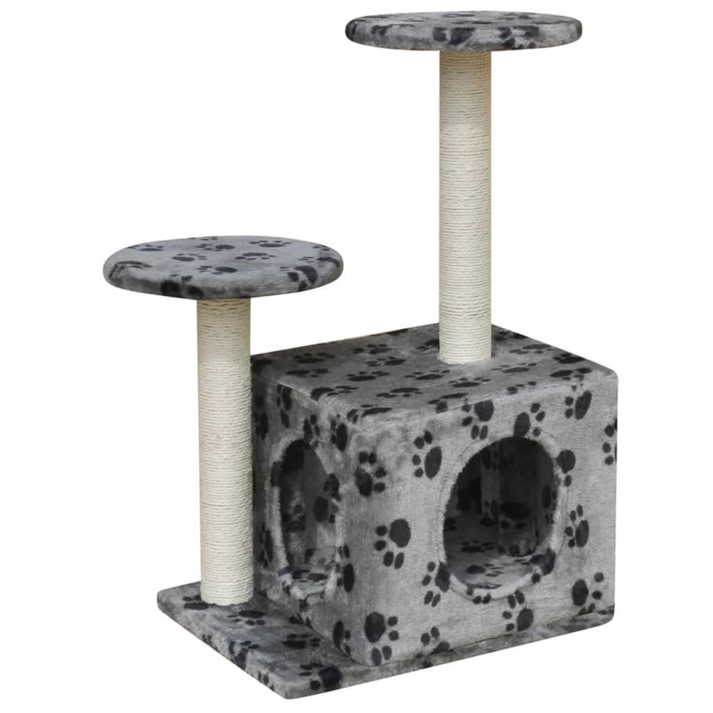 vidaXL Ansamblu pentru pisici 64 cm 1 căsuță gri cu imprimeu cu lăbuțe vidaxl.ro