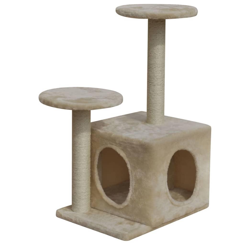 vidaXL Ansamblu pentru pisici, 64 cm, o căsuță, bej imagine vidaxl.ro