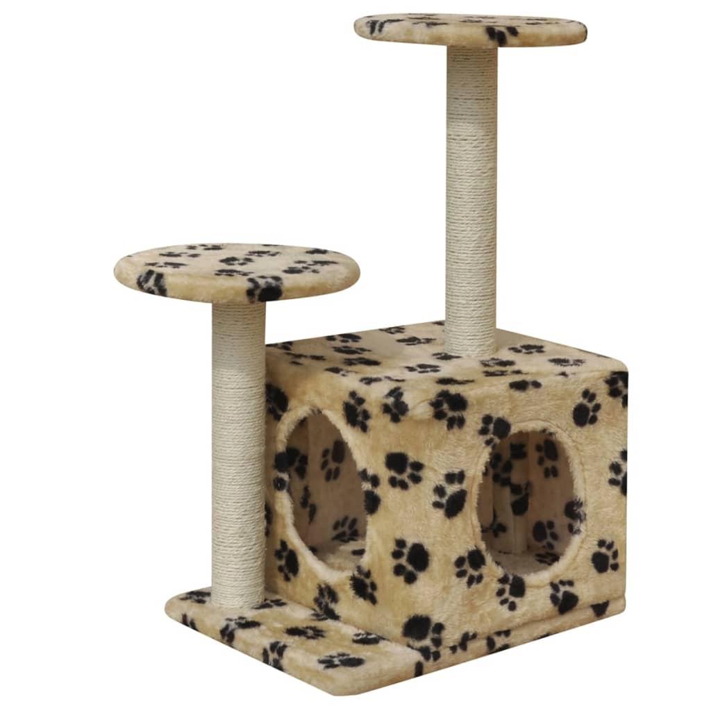 vidaXL Ansamblu pentru pisici 64 cm 1 căsuță bej cu imprimeu cu lăbuțe imagine vidaxl.ro