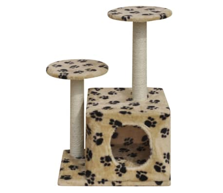 Cat Tree Scratching Post 64 cm 1 House Beige with Paw Prints[2/4]