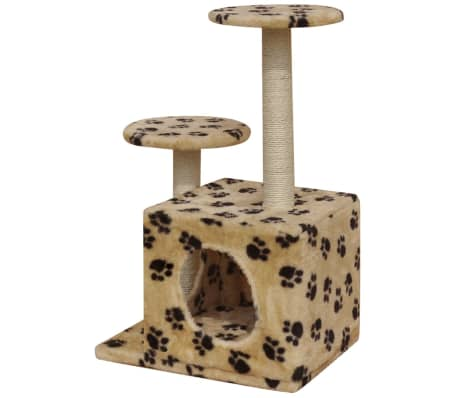 Cat Tree Scratching Post 64 cm 1 House Beige with Paw Prints[3/4]