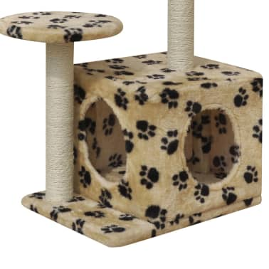 Cat Tree Scratching Post 64 cm 1 House Beige with Paw Prints[4/4]