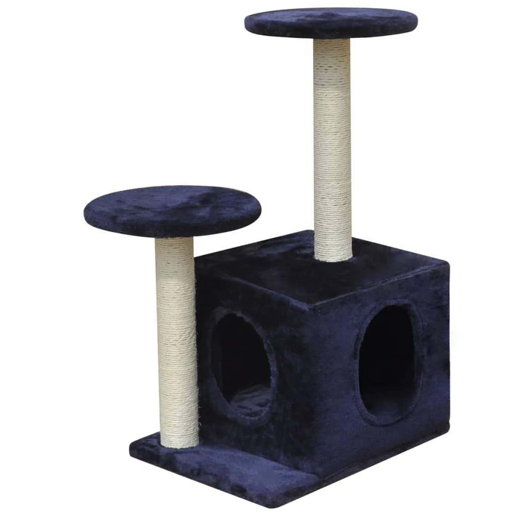 vidaXL Škrabadlo pro kočky 64 cm s 1 domečkem tmavě modré