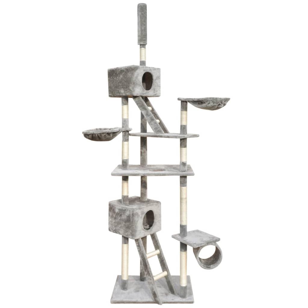 vidaXL Ansamblu pentru pisici, 126 cm, 2 căsuțe, gri vidaxl.ro